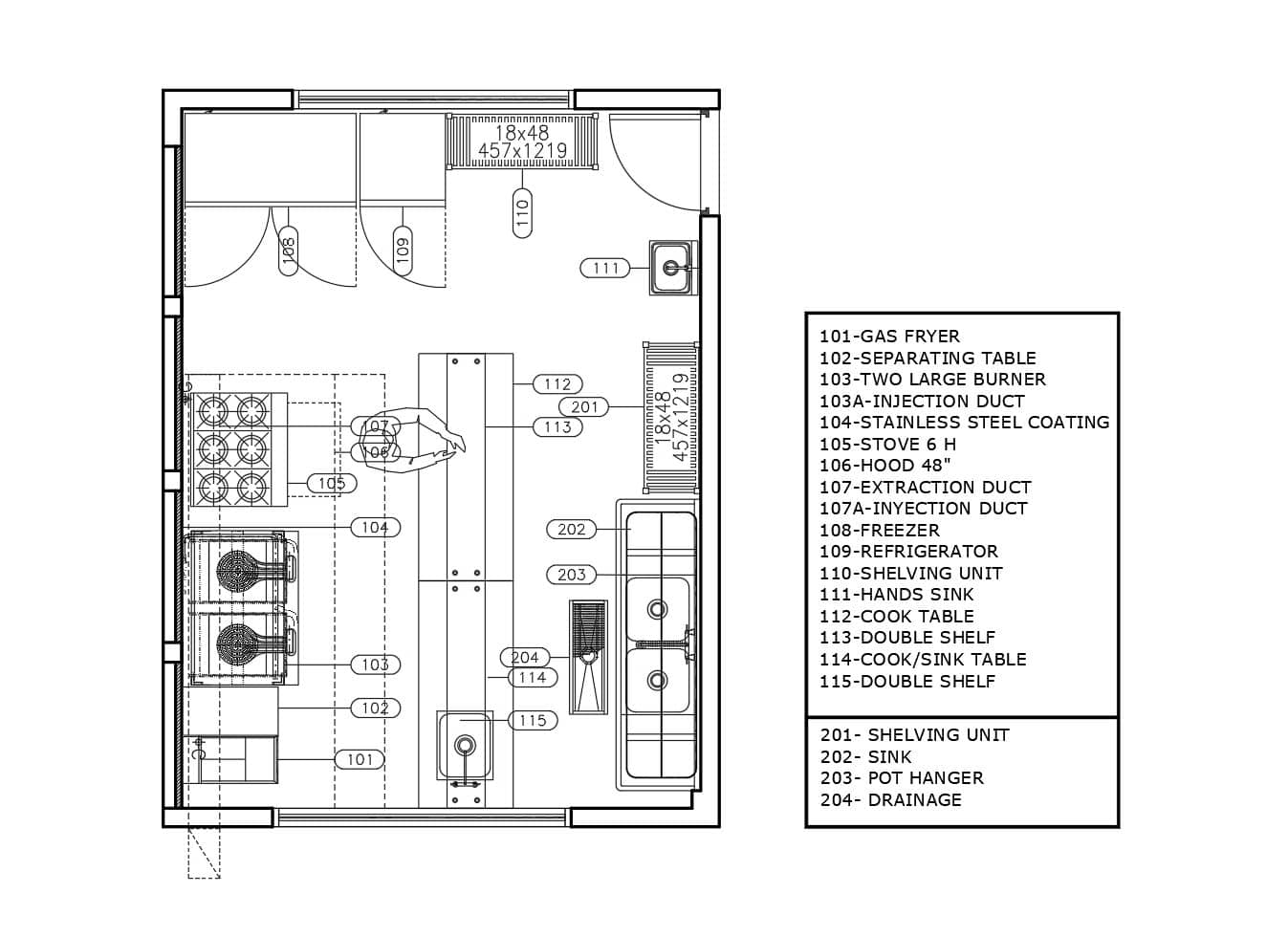 Small catering kitchen layout design idea