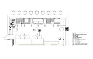 Restaurant bar layout with equipment