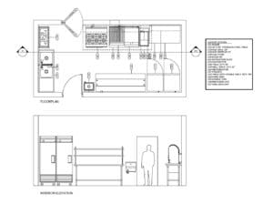 small commercial kitchen architectural plant, catering, detailed plant with details of commercial kitchen furniture