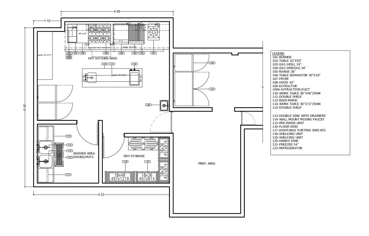 Architectural design of a small commercial kitchen that could be designed for a home or small business