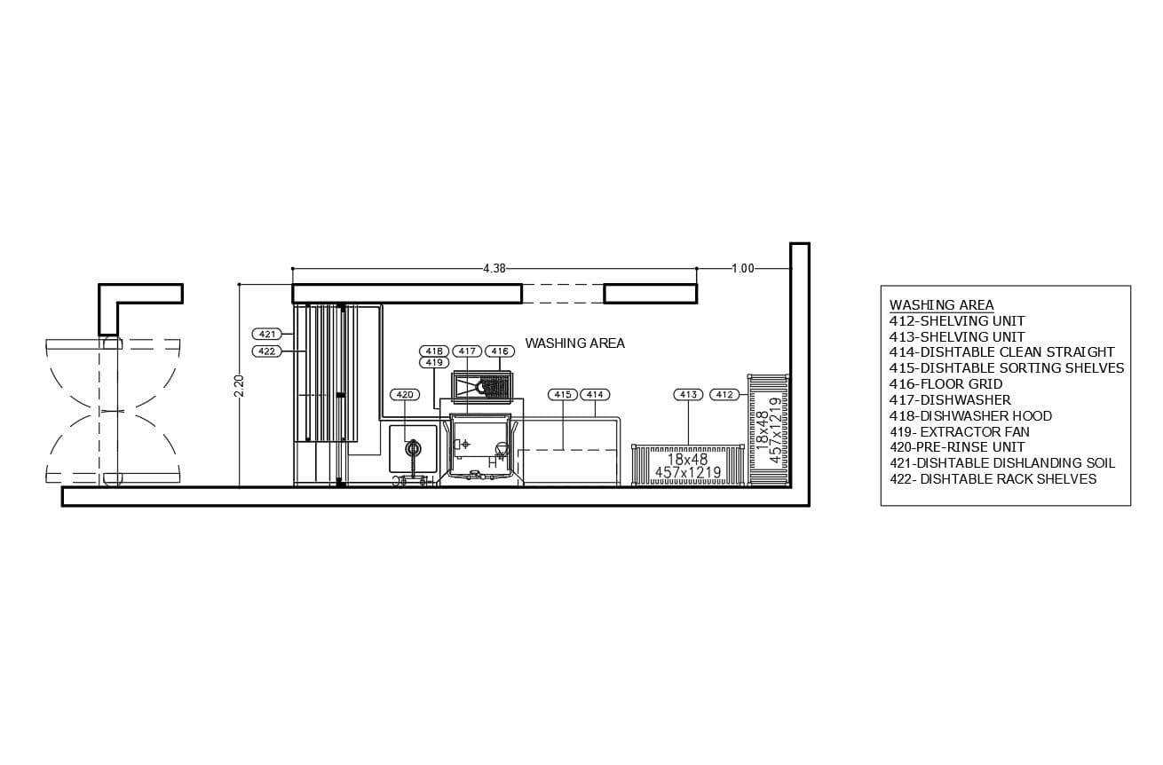 Basic distribution small commercial kitchen washing area floor plan