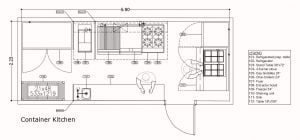 container kitchen layout with dimensions