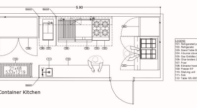 Small Container Kitchen Layout Plan 211602