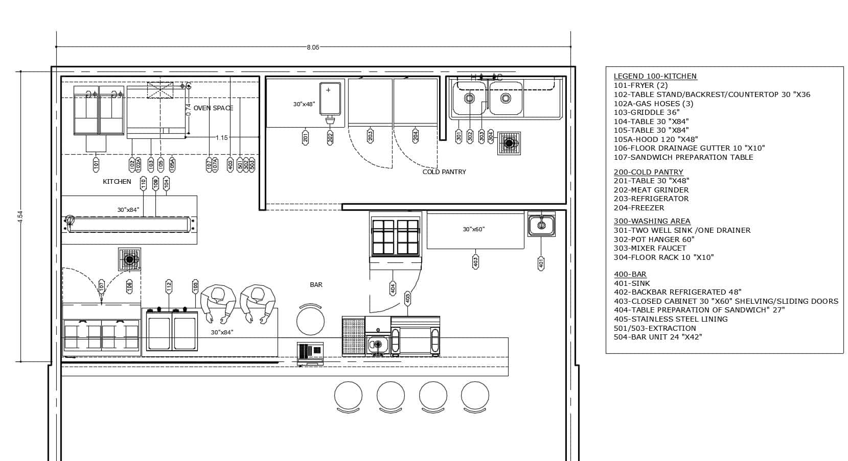 free downloadable layout with equipment and dimensions of Displayed Kitchen With Front Bar in 2D format, kitchen with cooking equipment, exhaust hood, bar area with specified equipment,